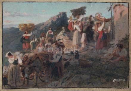 Ecole française XIXe. Scène de village en Italie, étude. Aquarelle et gouache s