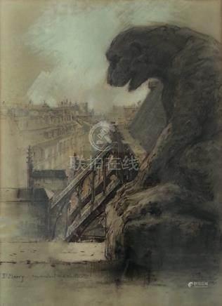 Charles JOUAS (1866-1942) St Merry, arcs-boutants du Choeur. Fusain, estompe et