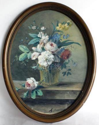Arthur CHAPLIN (1869-1935). Panier fleuri. Gouache à vue ovale, signée en bas.