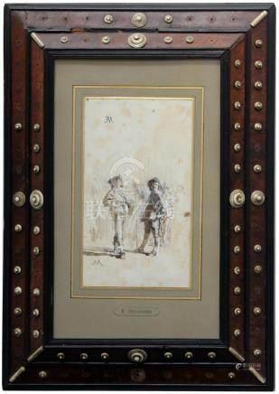 Ernest MEISSONIER (1815-1891). Deux mousquetaires. Lavis d'encre et rehauts de