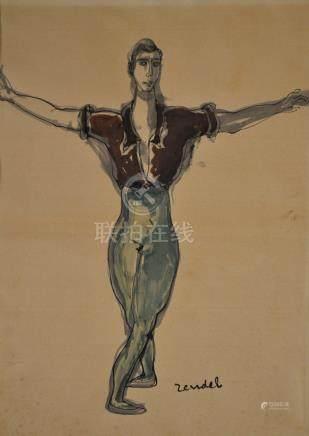 Gabriel ZENDEL (1906-1992) Le danseur. Encre et aquarelle signée en bas àc droi