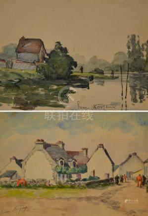 Henri NOIZEUX (1871-?). Maison au bord de l'étang. Aquarelle signée en bas à dr