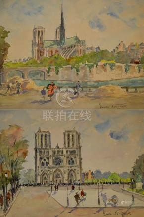 Henri NOIZEUX (1871-?). Le parvis de Notre Dame. Aquarelle signée en bas à droi