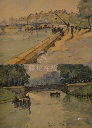 Henri NOIZEUX (1871-?). Animation quai de Seine. Aquarelle signée en bas à droi