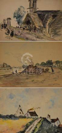Henri NOIZEUX (1871-?). Sortie de messe en Bretagne. Aquarelle et fusain signé