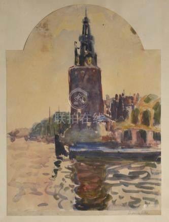 Ludovic Rodo PISSARRO (1878-1952) Tour sur le port. Aquarelle sur papier co
