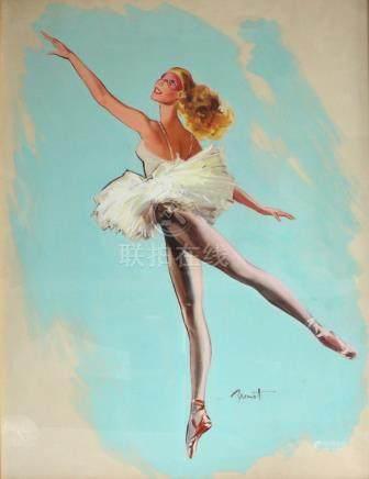 Pierre Laurent BRENOT (1913-1998). La danseuse étoile au masque. Gouache signée