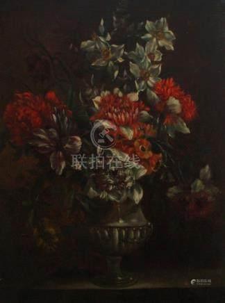 Ecole française dans le goût de Jean-Baptiste MONNOYER (1636-1699). Vase fleur