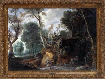 Pieter SNAYERS (1592- 1666) (Attribué à) Scène de chasse à cour. Panneau parque