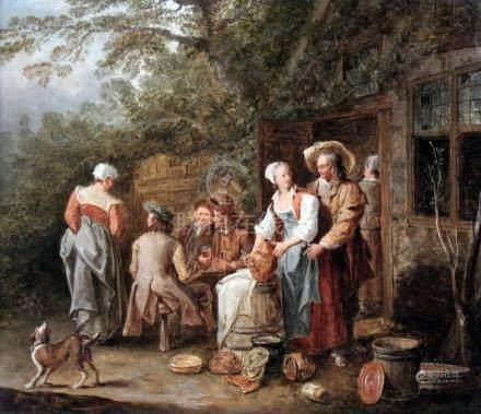 Peter ANGELLIS (1685-1734) Personnages devant une auberge. Toile. 31 x 36 cm