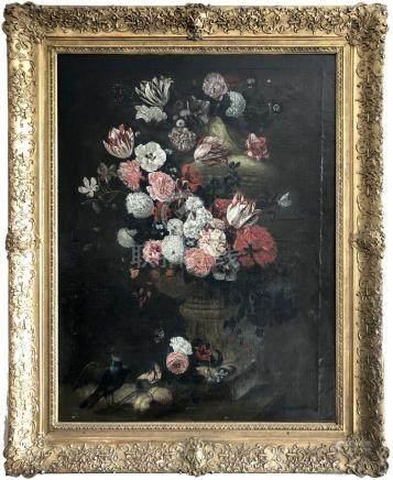 Ecole française XVIIIe suiveur de Jean-Baptiste MONNOYER (1636-1699). Vase de f