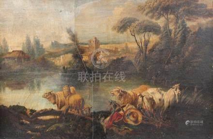 Ecole française fin XVIIIe dans le goût de François BOUCHER. Bouc et moutons da