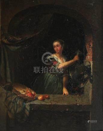 Ecole du XIXe siècle dans le goût de Gérard DOU. Femme à la volaille et au pani