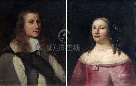 Johan VAN HAENSBERGEN (1642-1705) (Attribué à). Portraits de jeune homme et de
