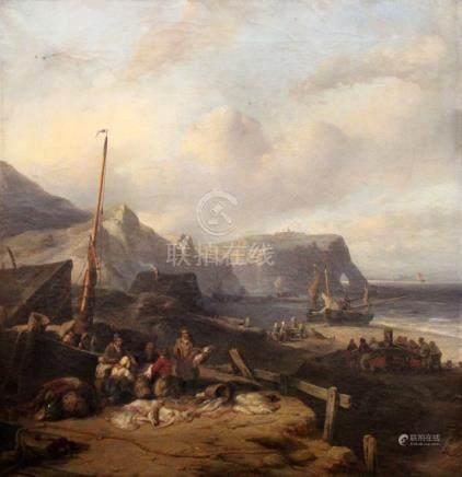 Louis MEYER (1809-1866). Famille de pêcheurs aux raies à Etretat. Huile sur toi