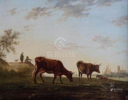 Ecole française XIXe. Vaches et vachers au crépuscule. Huile sur toile. 28 x 35