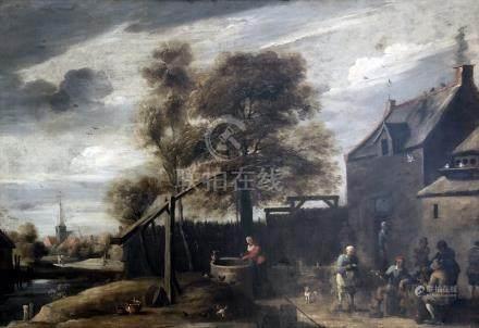 Mattheus à Van HELMONT (1623 - 1679) (Attribué à) Paysans près d'une chaumière.