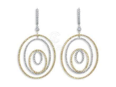 黃白鑽配鑽石耳環鑲18K黃白金(2)