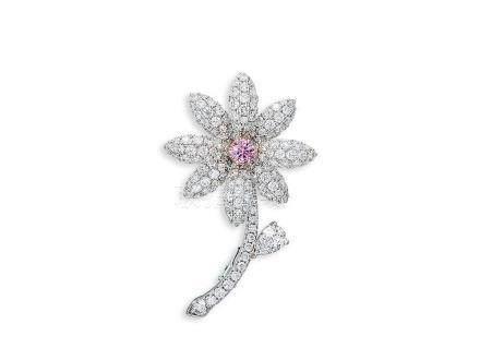 彩鑽配鑽石襟針鑲18K玫瑰金及白金