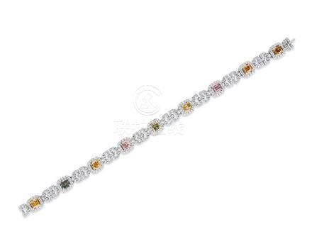 彩鑽配鑽石手鍊鑲18K三色金