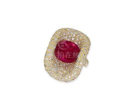 紅色碧璽配鑽石戒指鑲18K黃金