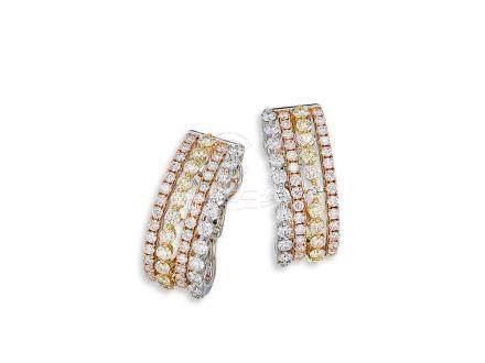 黃鑽配鑽石耳環鑲18K三色金(2)