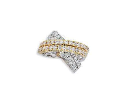 鑽石戒指鑲18K黃白金