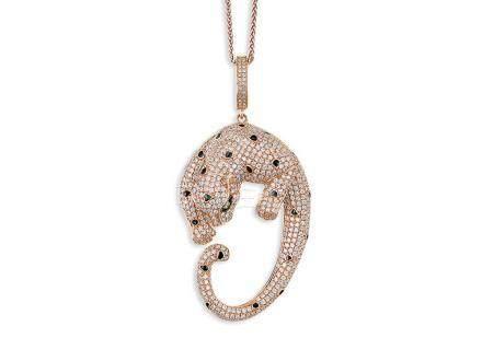 鑽石吊咀鑲18K玫瑰金配18K玫瑰金頸鍊(2)