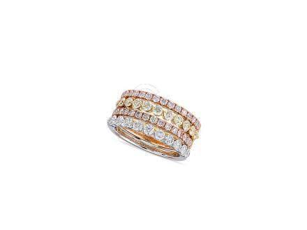 三色鑽石戒指鑲18K三色金