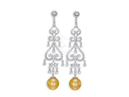 金珍珠配鑽石耳環鑲18K白金(2)