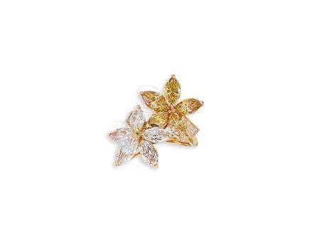 黃鑽配鑽石戒指鑲14K黃金
