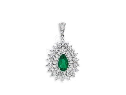 1.20卡拉「哥倫比亞」祖母綠配鑽石吊咀鑲18K白金配18K白金頸鍊(2)