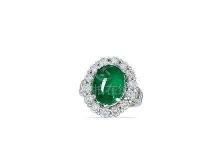 6.58卡拉「哥倫比亞」祖母綠配鑽石戒指鑲鉑金