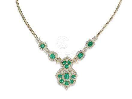 祖母綠配鑽石頸鍊鑲18K黃金