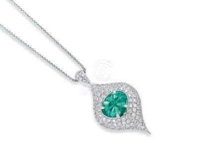 祖母綠配鑽石吊咀鑲18K白金配18K白金頸鍊(2)