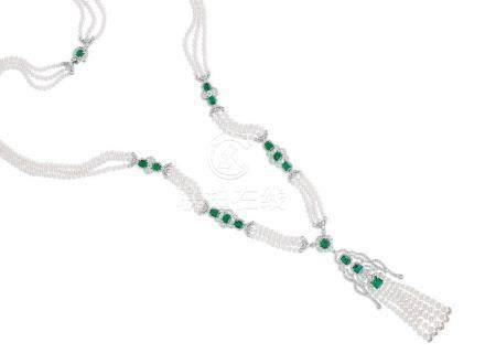 祖母綠、日本東珠配鑽石頸鍊鑲18K白金