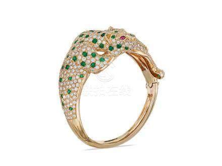 祖母綠配鑽石手鐲鑲18K黃金