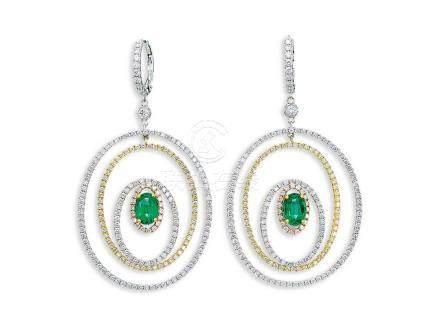 祖母綠配鑽石耳環鑲18K黃白金(2)