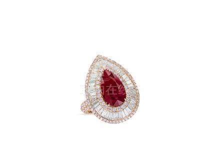 3.90卡拉「緬甸」紅寶石配鑽石戒指鑲18K玫瑰金