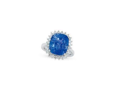 7.54卡拉「緬甸-抹谷」矢車菊藍寶石配鑽石戒指鑲18K白金(未經加熱處理)