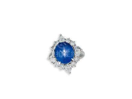 星光藍寶石配鑽石戒指鑲鉑金