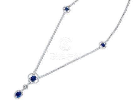 藍寶石配鑽石頸鍊鑲18K白金
