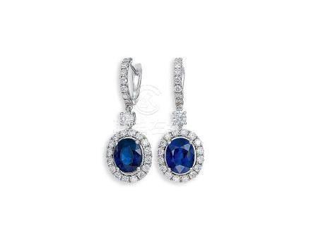 藍寶石配鑽石耳環鑲18K白金(2)