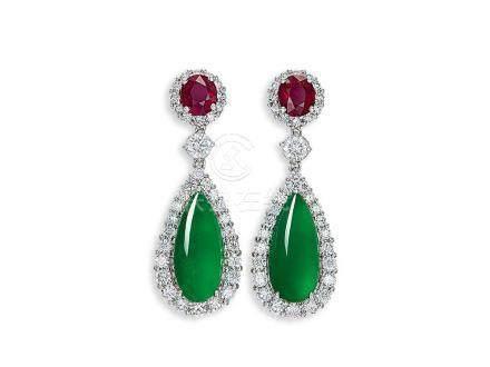天然翡翠配紅寶石及鑽石耳環鑲18K白金(2)