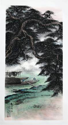 CHINESE SCROLL PAINTING OF TREE BY RIVER