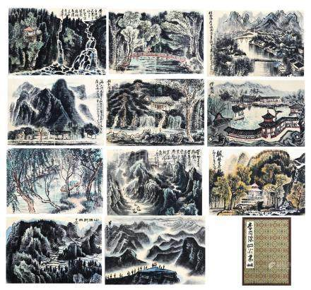 ELEVEEN PAGES OF CHINESE ALBUM PAINTING OF MOUNTAIN VIEWS