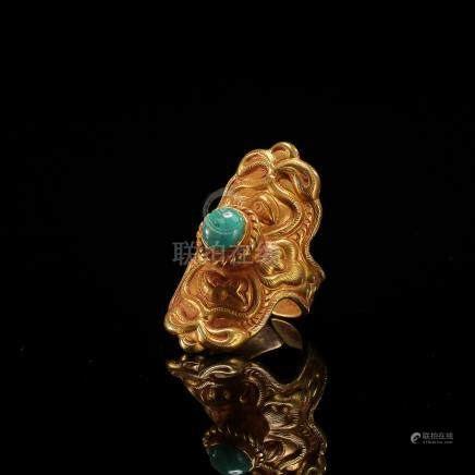 CHINESE TURQUOISE PURE GOLD RING LIAO DYNASTY