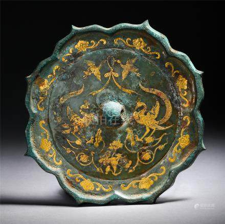 CHINESE GOLD INLAID BRONZE PHOENIX FLOWER SHAPED MIRROR TANG DYNASTY