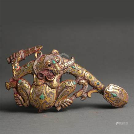 CHINESE TURQUOISE GOLD SILVER INLAID BRONZE BEAR BELT HOOK WARRING STATES PERIOD