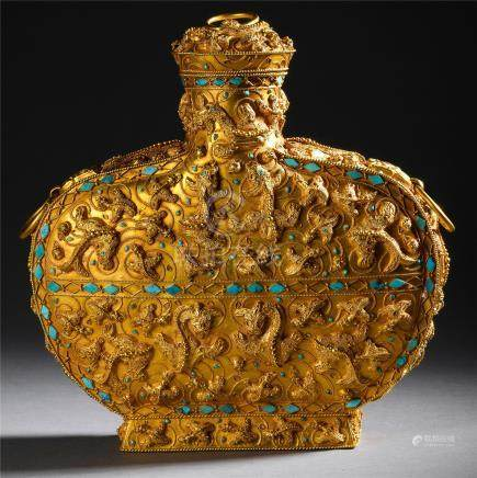 CHINESE TURQUOISE INLAID PURE GOLD FLATTEN VASE HAN DYNASTY